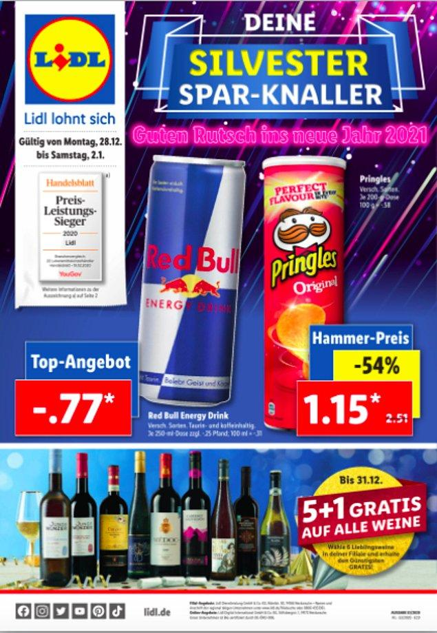 Enerji içeceği Red bull 77 sent ve çoğumuzun kırk yılda bir yediği Pringles ise 1.15 Euro.