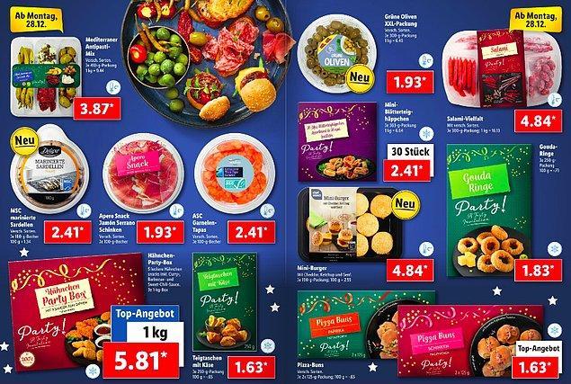 Çeşitli mezelerin ve atıştırmalıkların yer aldığı bu sayfada da ürünlerin fiyatları en yüksek 5.81 Euro...