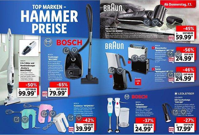 Ünlü markaların elektronik eşyalarının yer aldığı bu sayfada da elektrikli süpürge 79.99 Euro olması şaşırtıyor.