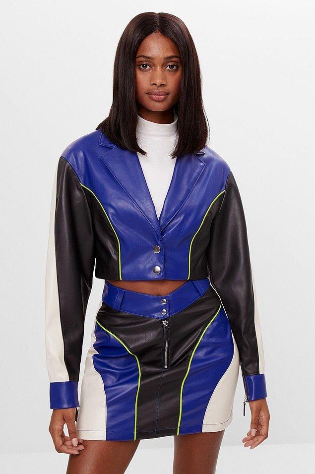 9. Deri etek ve ceket harika bir kombin oluşturmamış mı?