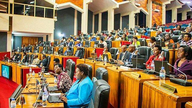 1. Ruanda Alt Meclisi parlamentosunda erkek üyeden çok kadın üye bulunur.