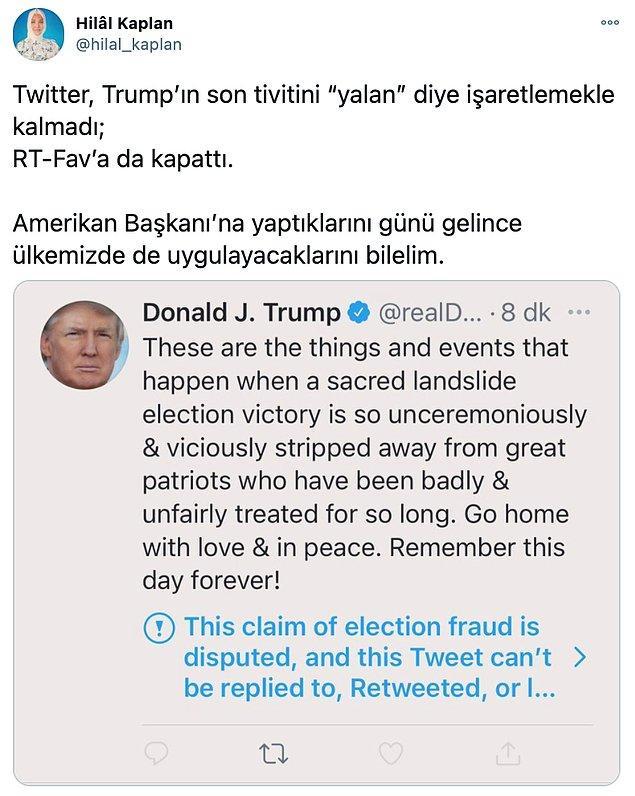 Hilal Kaplan'ın, Trump'ın hesabındaki bazı şüpheli bilgi içeren tweetleri engellemesine ilişkin yorumu bu şekilde...