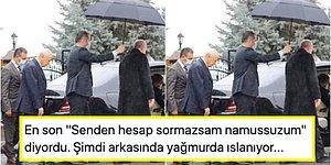 Devlet Bahçeli'nin Cumhurbaşkanı Erdoğan'ın Arkasında Yağmurda Islandığı Fotoğraf Sosyal Medyanın Gündeminde