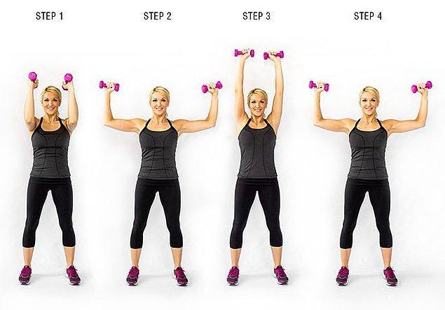3. Elbow squeeze shoulder press
