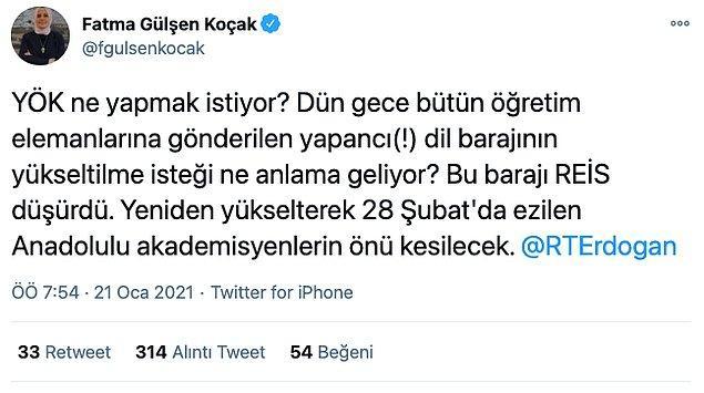 Yeni Akit yazarı Fatma Gülşen Koçak YÖK'ün dil barajını yükseltme isteğini eleştiren bir paylaşımda bulundu.