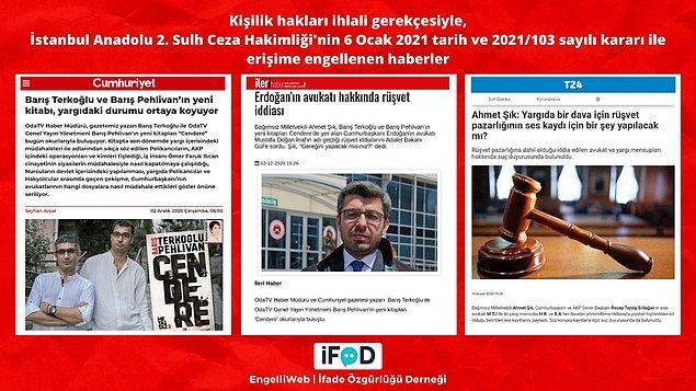 Cumhurbaşkanı Erdoğan'ın eski avukatının bir davada rüşvet pazarlığı içinde yer aldığı iddiaları ile ilgili haberler, kişilik hakları ihlali gerekçesiyle erişime engellendi.