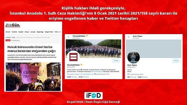 Yanında gönüllü olarak staj yaptığı avukatın cinsel saldırısına maruz kaldığını iddia eden hukuk öğrencisinin Twitter hesabı, bu konuyu gündeme getiren haberler erişime engellendi.