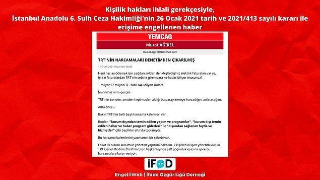 Murat Ağırel'in TRT harcamalarını konu aldığı yazısı da kişilik hakları ihlali gerekçesiyle erişime engellendi.