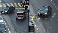 Sokak Ortasında Yanlayarak İnsanların Canını Hiçe Sayan Trafik Magandası