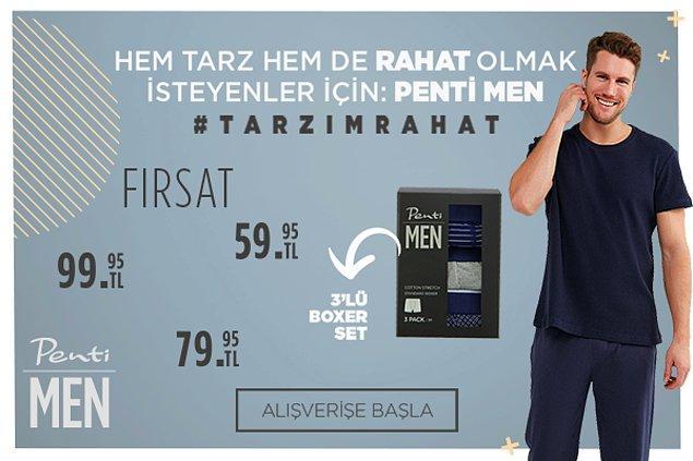 Benim #tarzımrahat diyen beyler için, en rahat eşofmanlar, tişörtler, boxerlar, sweatshirtler ve daha fazlası Penti Men'de!