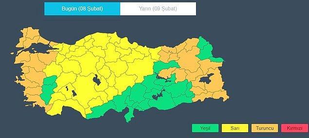 Türkiye için uyarı durumu