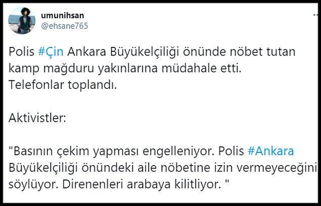 """""""@ehsane765"""" isimli Twitter kullanıcısı tarafından paylaşılan görüntüler için """"Polis Çin Ankara Büyükelçiliği önünde nöbet tutan kamp mağduru yakınlarına müdahale etti. Telefonlar toplandı"""" denildi."""