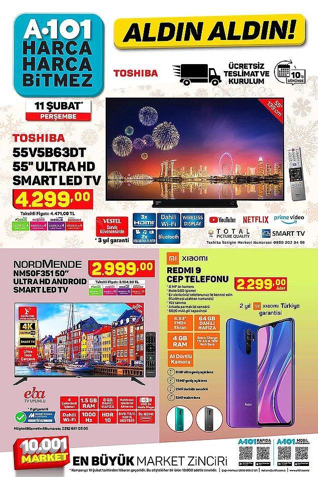 Toshiba Televizyon: 4 bin 299 lira - Xiami Redmi 9 Cep Telefonu: 2 bin 299 lira