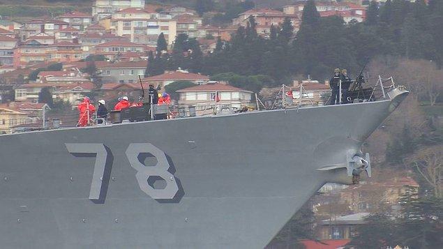 ABD Donanmasına ait DDG 78 Borda numaralı 'USS Porter' adlı füze fırkateyni saat 08.00 sıralarından Karadeniz'den İstanbul Boğazı'na girdi.