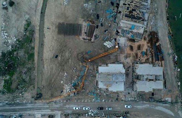 Bir inşaatta vincin devrilmesine neden olan hortum, 16 kişinin yaralanmasına neden oldu.