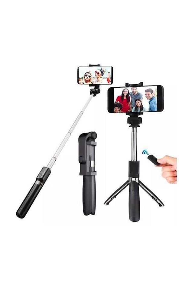 9. Hepsi bir arada: Bluetooth selfie çubuğu, tripod, monopod