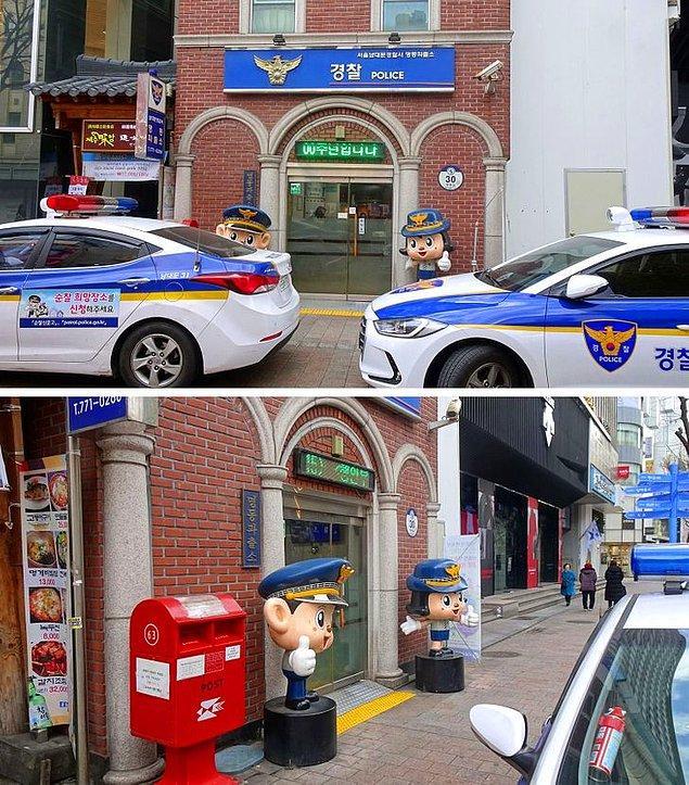16. Polisler gerçekten arkadaş canlısı görünüyor. Polis karakolları oldukça küçük ve girişinde komik figürler bulunuyor...