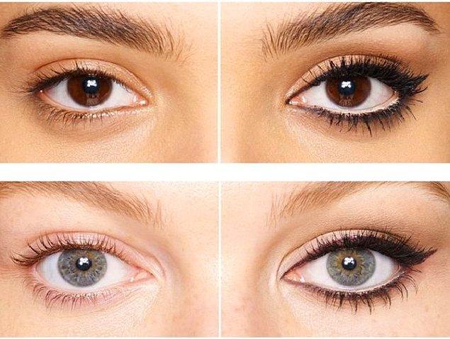 12. Eğer gözlerinizi olduğundan büyük göstermek istiyorsanız kolayca uygulayabileceğiniz bir yöntem var.