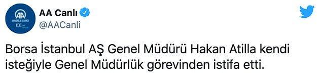 Anadolu Ajansı'nın istifayı duyurma şekli ise tepkilere neden oldu...