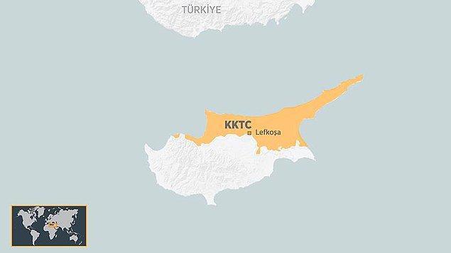 1. Akdeniz'de bulunan Kıbrıs Adası'nda bulunan Kuzey Kıbrıs Türk Cumhuriyeti sadece Türkiye tarafından tanınıyor.