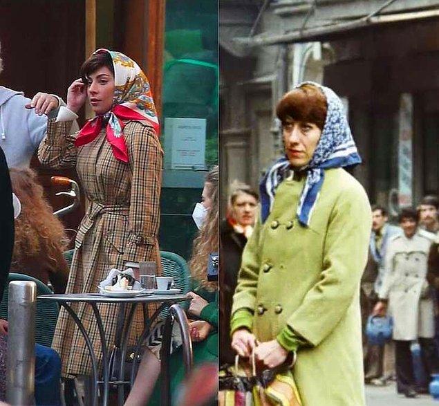10. Geçtiğimiz günlerde çekimleri başlayan 'House of Gucci'nin setinde görüntülenen Lady Gaga'nın tarzı Ayşen Gruda'ya benzetildi!