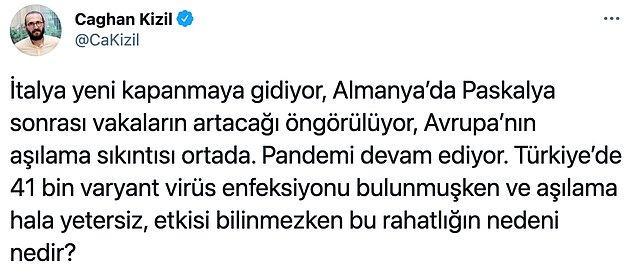 Nörobilim ve genetikçi Çağhan Kızıl Twitter'da bir paylaşımda bulunda ve bu tweet günün en çok konuşulan konuları arasına girdi.