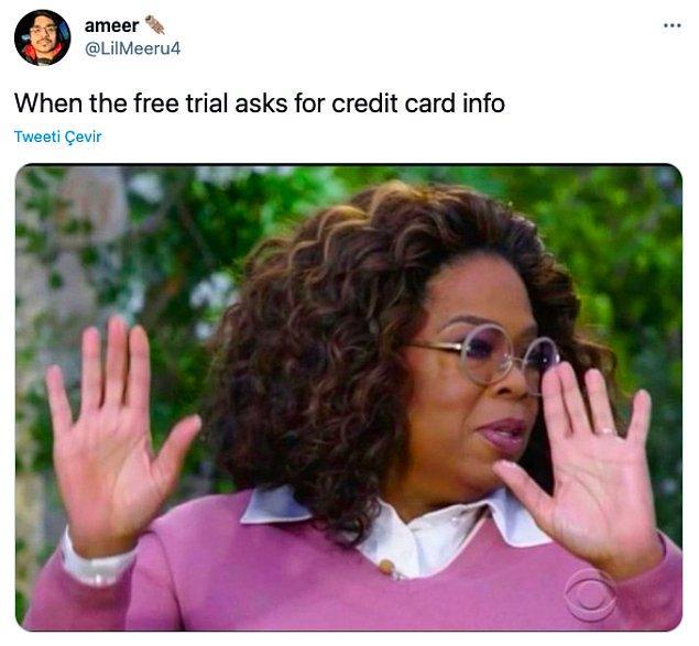 """9. """"Ücretsiz deneme kredi kartı bilgisi istemiştir."""""""