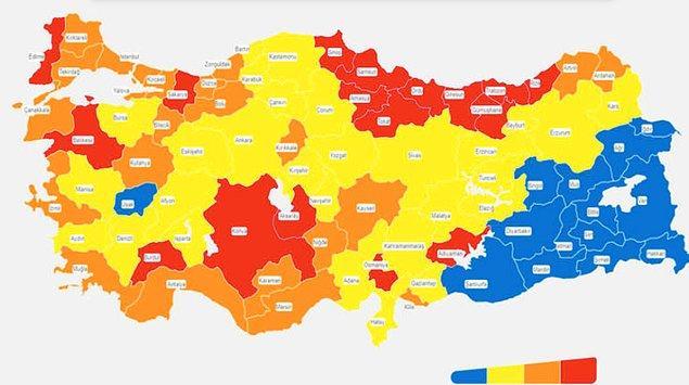 Sağlık Bakanlığı'nın güncel risk haritasına göre İstanbul turuncu renkle riskin yüksek olduğu iller kategorisinde.