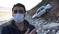 Beylikdüzü'nde Otomobil Kumsala Uçtu; Turistler Hatıra Fotoğrafı Çektirdi