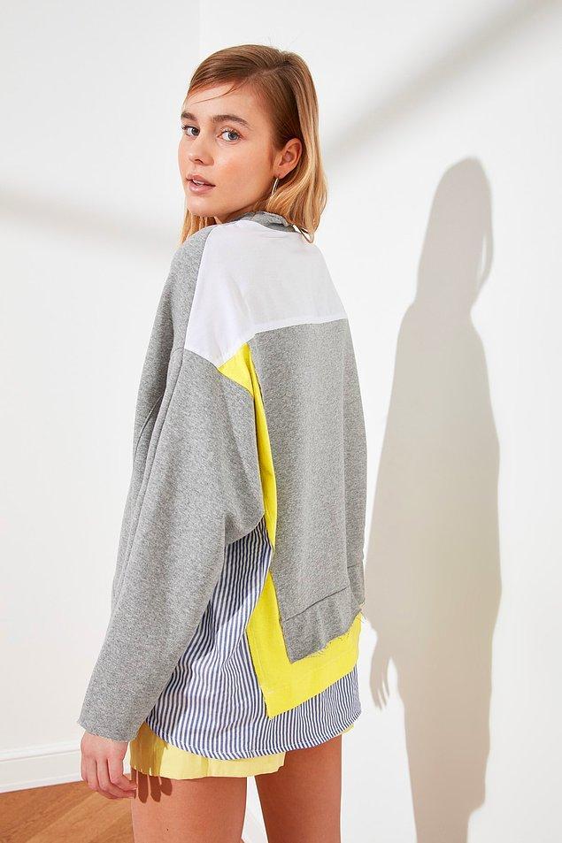 8. Bu sweatshirt ister jean ile ister tayt ile rahatlıkla kombinleyebileceğiniz tarz bir parça.