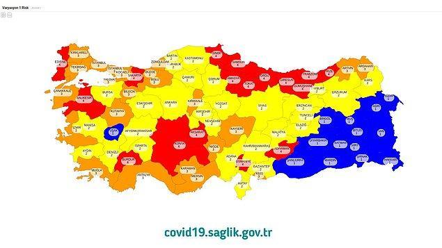 Sağlık Bakanlığı'nın Koronavirüs Verilerine Göre Hazırladığı Türkiye Risk Haritası Şu Şekilde Oldu;