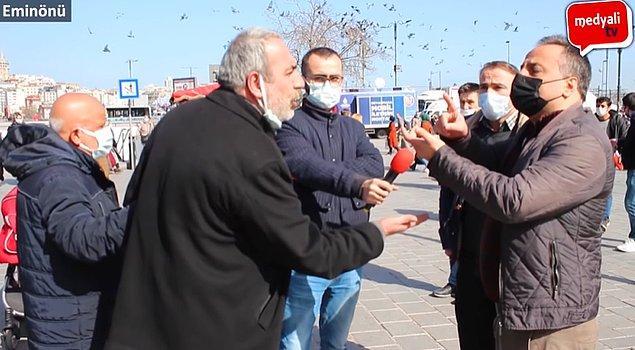 O mikrofona konuşan vatandaşlardan birisi İmamoğlu'nu savunurken, barajların yağmur sayesinde dolduğunu savundu.