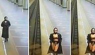 Trençkotun Önünü Açarak İçine Giydiği Jartiyer ile Metro Kameralarına Şov Yapan Kadın