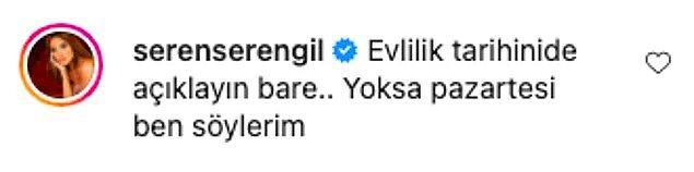 3. Seren Serengil'in ünlü bir çiftin fotoğrafının altına yazdığı yorum olay oldu! Heyecanla bekliyoruz...😅