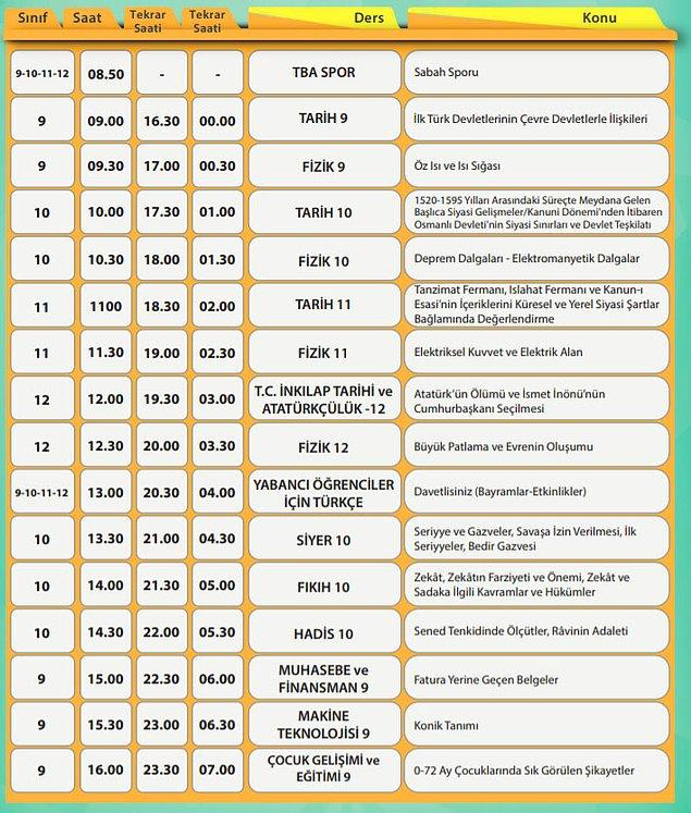 30 Mart EBA TV Lise Ders Programı