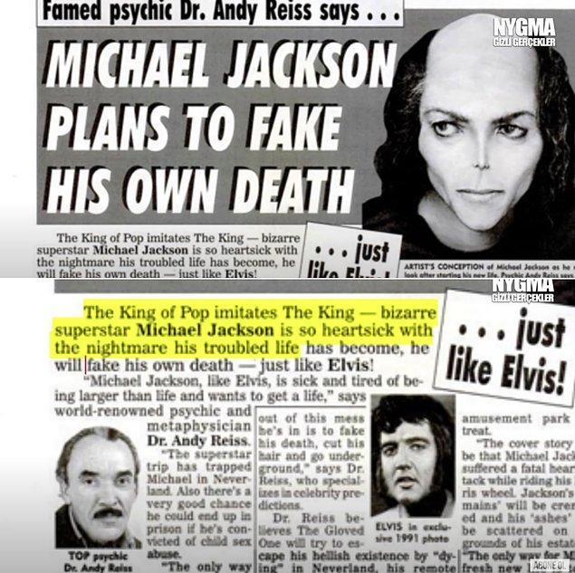 8. Michael Jackson'ın ölümünden 10 yıl önce, 1999'da bir gazetede yayınlanmış ilginç bir haber ortaya çıktı.