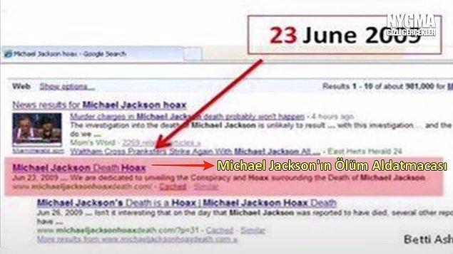 """9. Michael Jackson'ın hayatını kaybetmesinden sadece 2 gün önce """"Michael Jackson Death Hoax"""" yani Michael Jackson'ın Sahte Ölümü isimli bir site açıldığı ortaya çıktı."""