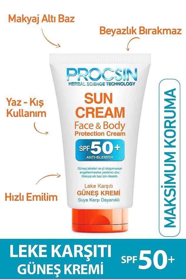 6. Procsin marka leke karşıtı güneş kremi, erken cilt yaşlanmalarına karşı bizi koruyan Spf50+ korumalı bir ürün.