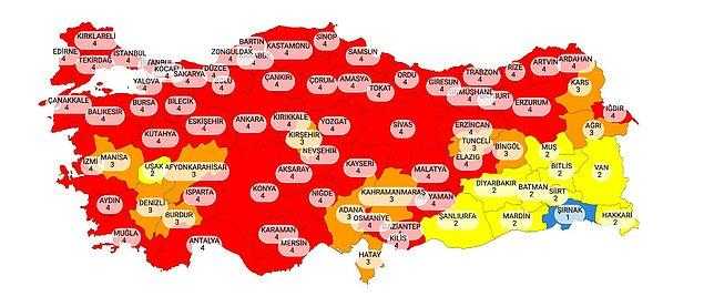 Sağlık Bakanlığı'nın Yayınladığı Yeni Türkiye Risk Haritası