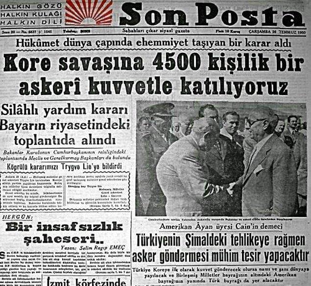 BM kararına uyan Türkiye, Amerika'dan sonra Kore'ye asker göndereceğini ilan eden ilk ülke olur. Menderes Hükumeti bu kararı alırken meclise danışmaz.