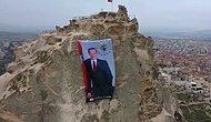 Dünyanın En Yüksek Peribacasına Cumhurbaşkanı Erdoğan'ın Posteri Asıldı
