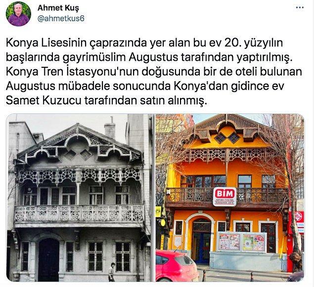 Twitter'dan @ahmetkus6 isimli kullanıcı da bu acı fotoğrafı gösterdi bizlere. 20. yüzyılın başlarında yaptırılan bu yapı şimdilerde Konya'da BİM olarak kullanılıyormuş.