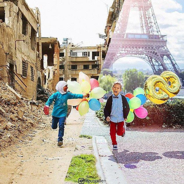 2. Suriye'nin başkenti Şam'da savaştan dolayı hasar görmüş bir mahallede, elinde balonlarla koşuşan bir çocuk.