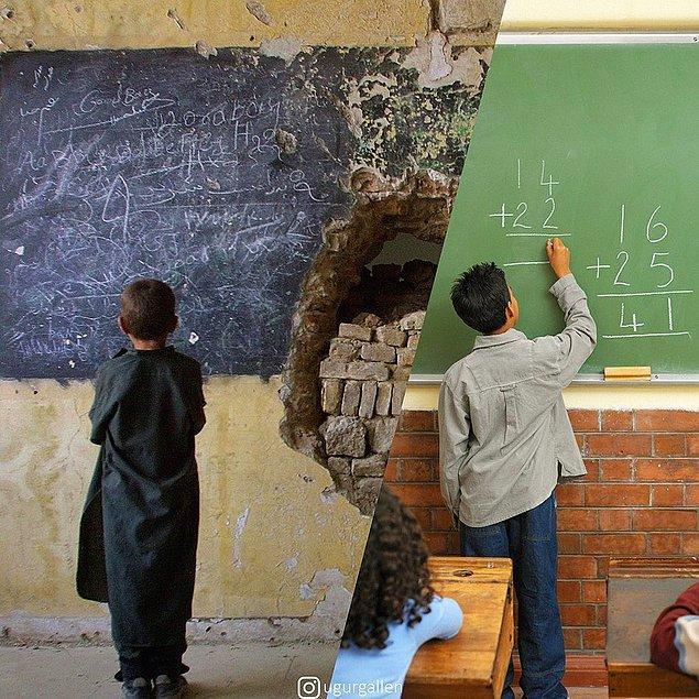 7. 3 Ocak 2002'de Afganistan'da harap olmuş Habibia Lisesinde bir çocuk!