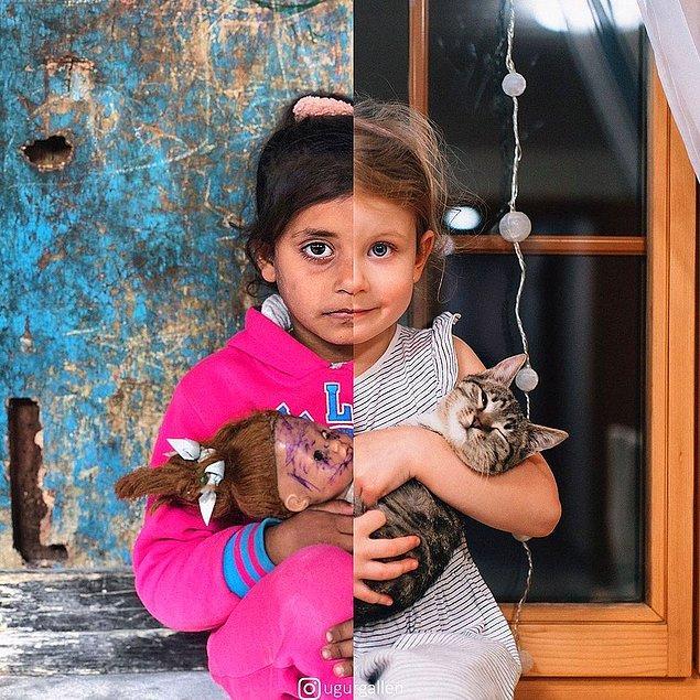 9. 5 yaşındaki Noha Abu Mesleh, Gazze şeridi merkezindeki Nuseirat mülteci kampındaki evinde görülüyor.