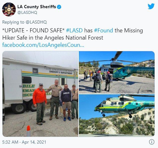 Rene Compean, Kuo'nun yardımları sayesinde 13 Nisan'da Angeles Ulusal Ormanı'nda güvenli ve sağlıklı bir şekilde bulundu.