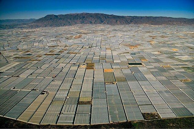 14. Almeria, İspanya: Kilometrelerce uzanan endüstriyel tarım alanları.