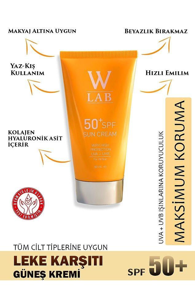 7. Makyaj bazı olarak da kullanabileceğiniz bu güneş kremi kolajen ve hyalüronik asit içeriyor.