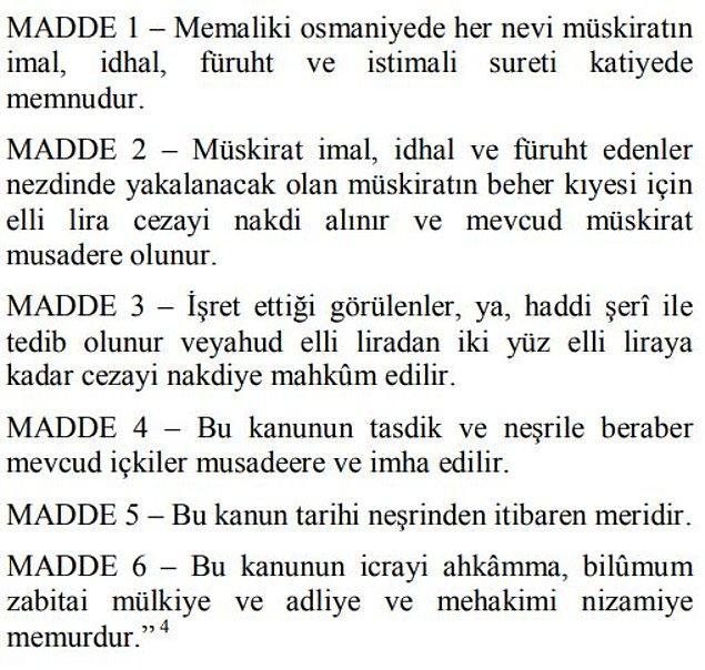 Ali Şükrü Bey'in verdiği 6 maddelik yasa teklifi şöyledir: