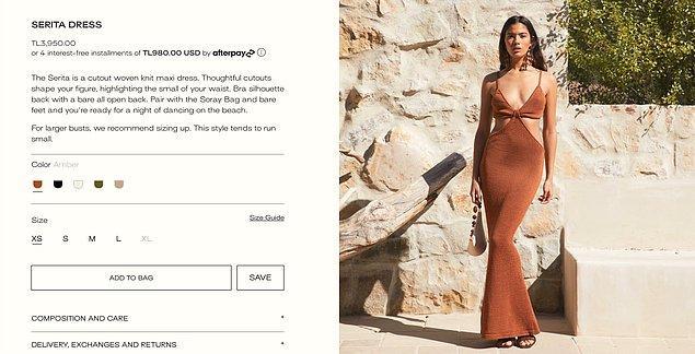 Elbisenin güncel fiyatı ise 3950 TL. Birçok da farklı renk seçeneği bulunuyor.